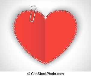 paper heart and clip