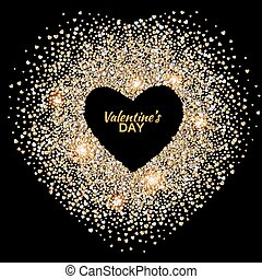 Black valentines day background with glowing gold hearts