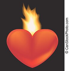 burning heart - heart on a black background. Behind the...