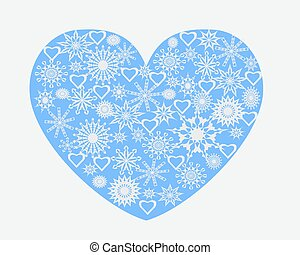 heart with snowflakes - blue heart full of snowflakes of...