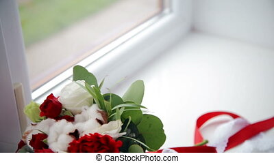 wedding bouquet on window-sill - Beautiful pearls and...