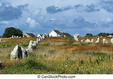Carnac Brittany, France: menhir and dolmen - Carnac,...