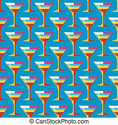 pop art cocktail glass seamless pattern - vector colored pop...