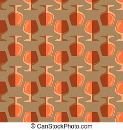 pop art cognac glass seamless pattern - vector colored pop...