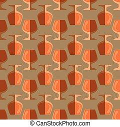 pop art cognac glass seamless pattern - vector colored pop...