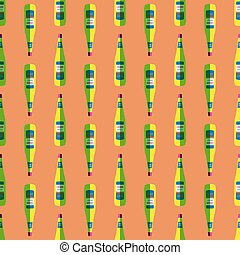 pop art liquor bottle seamless pattern - vector colored pop...
