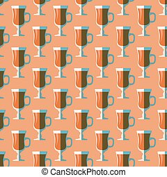 pop art mulled wine glass seamless pattern - vector colored...