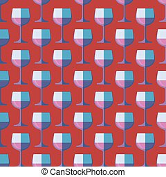 pop art red wine glass seamless pattern - vector colored pop...