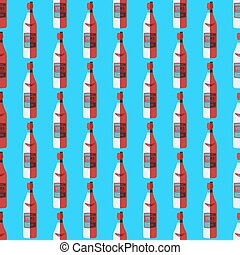pop art vodka bottle seamless pattern - vector colored pop...