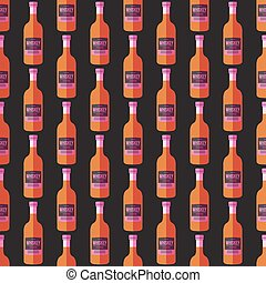 pop art whiskey bottle seamless pattern - vector colored pop...