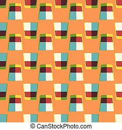 pop art whiskey glass seamless pattern - vector colored pop...