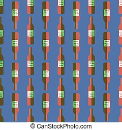 pop art red wine bottle seamless pattern - vector colored...