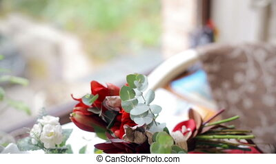 Beautiful wedding bouquet on a table in a cafe HD