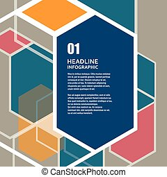 Vector hexagon infographics set. Template for diagram and presentation. Abstract concept design