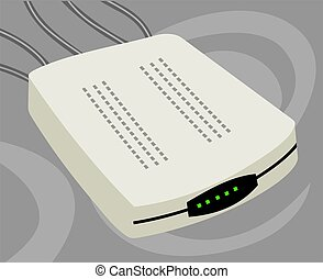 Modem - Illustration of a modem using in local area network...