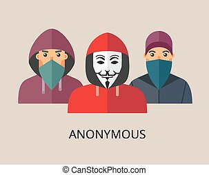 Anonymous hacker team - Anonymous team - isolated flat...