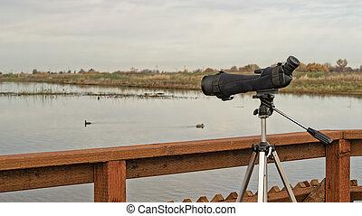 Birdwatching monocular on a tripod on bordwalk - A monocular...