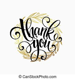 Thank you golden lettering design Vector illustration EPS10...