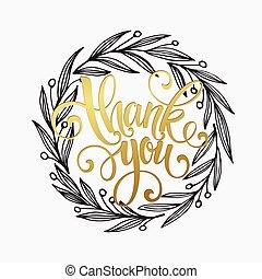 Thank you golden lettering design Vector illustration EPS10...