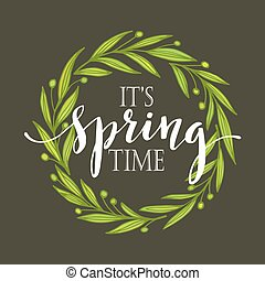 Words Spring with wreath. Vector illustration