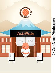 master japanese sushi welcome in front of his shop