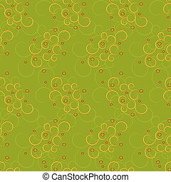 Seamless of curly yellow pattern with red circles - seamless...
