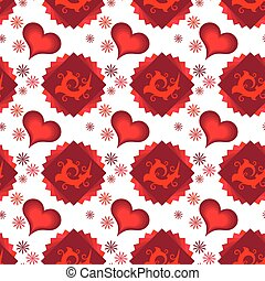 Seamless of red multilayer hearts, squares and chamomiles -...