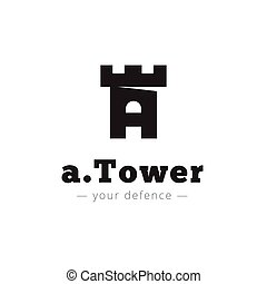 Vector minimalistic negative space A letter logo Tower sign...