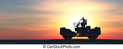 illustration of a steamroller with a driver and sunset