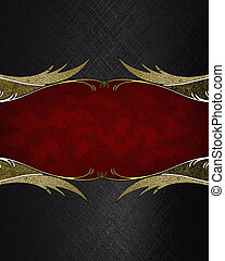 Red nameplate with gold pattern on black texture. Element...