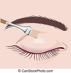 Make-Up Brush - Illustration of Make-Up Brush and a...