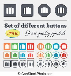 suitcase icon sign. Big set of colorful, diverse, high-quality buttons. Vector