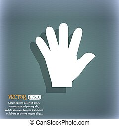 hand icon. On the blue-green abstract background with shadow and space for your text. Vector