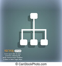 social network icon. On the blue-green abstract background with shadow and space for your text. Vector
