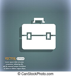 suitcase icon. On the blue-green abstract background with shadow and space for your text. Vector