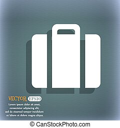 suitcase icon On the blue-green abstract background with...