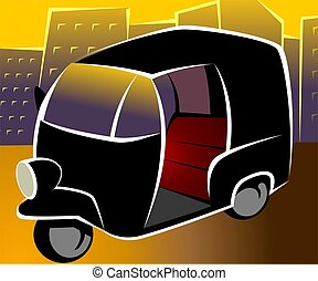 Auto rickshaw - Illustration of a three wheeler auto...