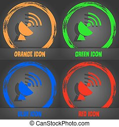 Satellite antenna icon. Fashionable modern style. In the orange, green, blue, red design. Vector