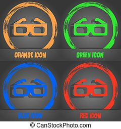 3d glasses icon. Fashionable modern style. In the orange, green, blue, red design. Vector