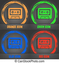 audiocassette icon Fashionable modern style In the orange,...