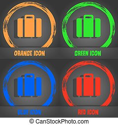 suitcase icon Fashionable modern style In the orange, green,...