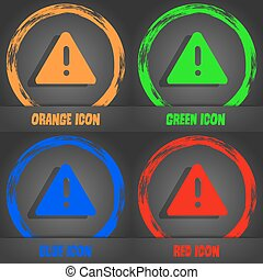 exclamation mark, Attention caution icon. Fashionable modern style. In the orange, green, blue, red design. Vector