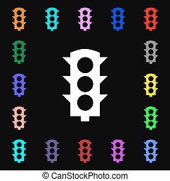 Traffic light signal icon sign. Lots of colorful symbols for your design. Vector