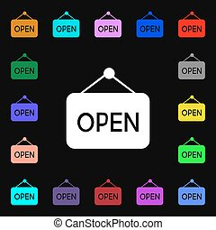 open icon sign. Lots of colorful symbols for your design. Vector