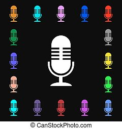 microphone icon sign Lots of colorful symbols for your...