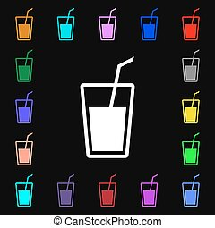 Soft drink icon sign Lots of colorful symbols for your...