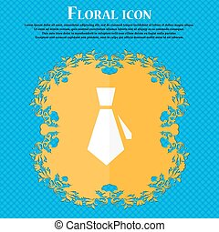 tie icon. Floral flat design on a blue abstract background with place for your text. Vector