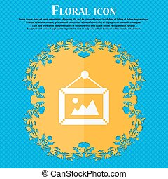 picture  icon. Floral flat design on a blue abstract background with place for your text. Vector
