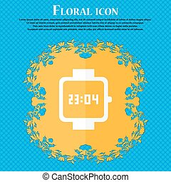 wristwatch icon. Floral flat design on a blue abstract background with place for your text. Vector