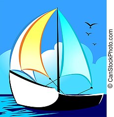 Boat - Illustration of a sailing vessel at sea